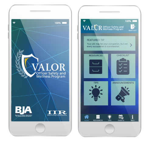 VALOR Officer Safety App shown on three cell phones
