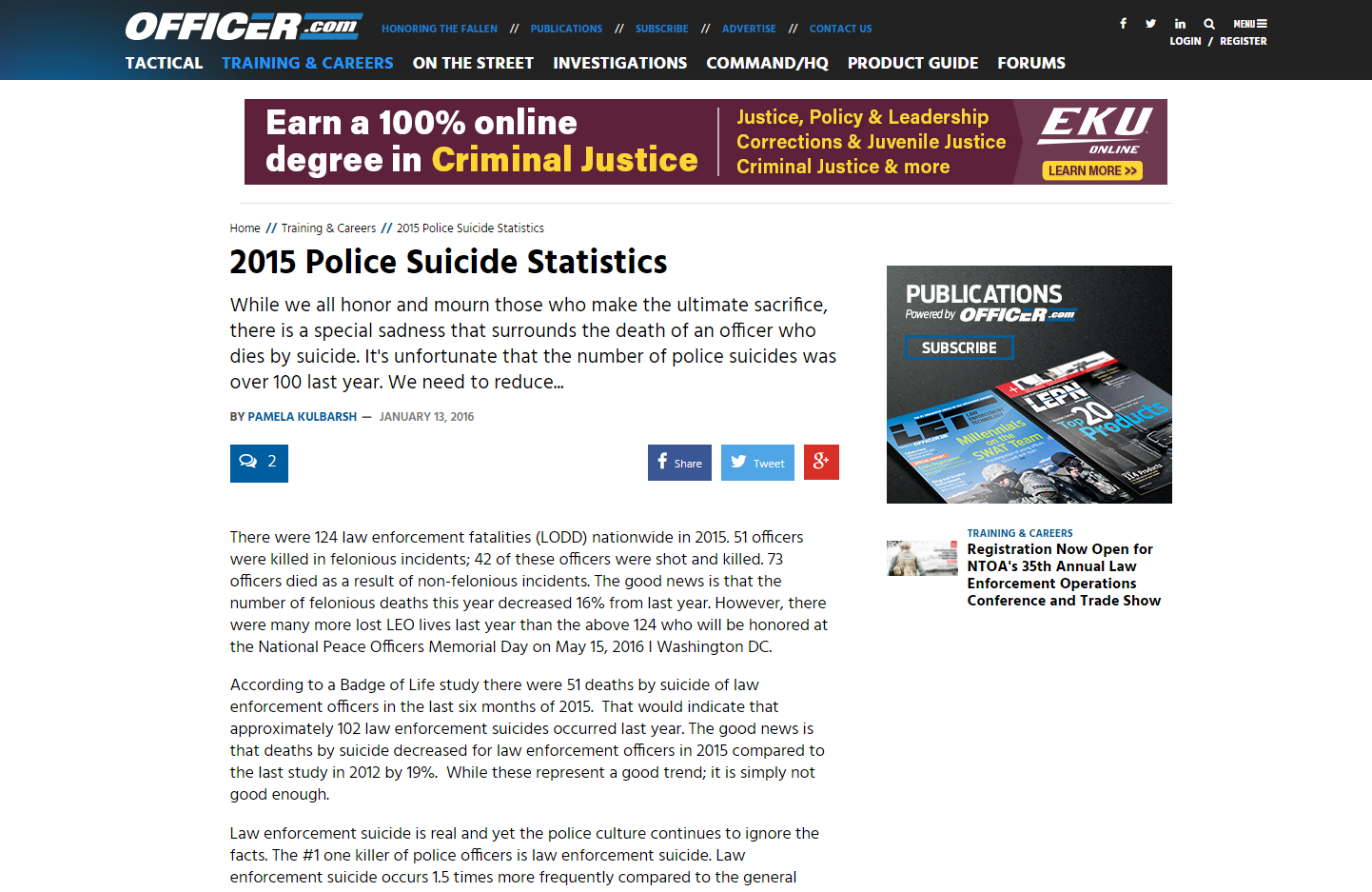 Website for learning about police suicide statistics from 2015