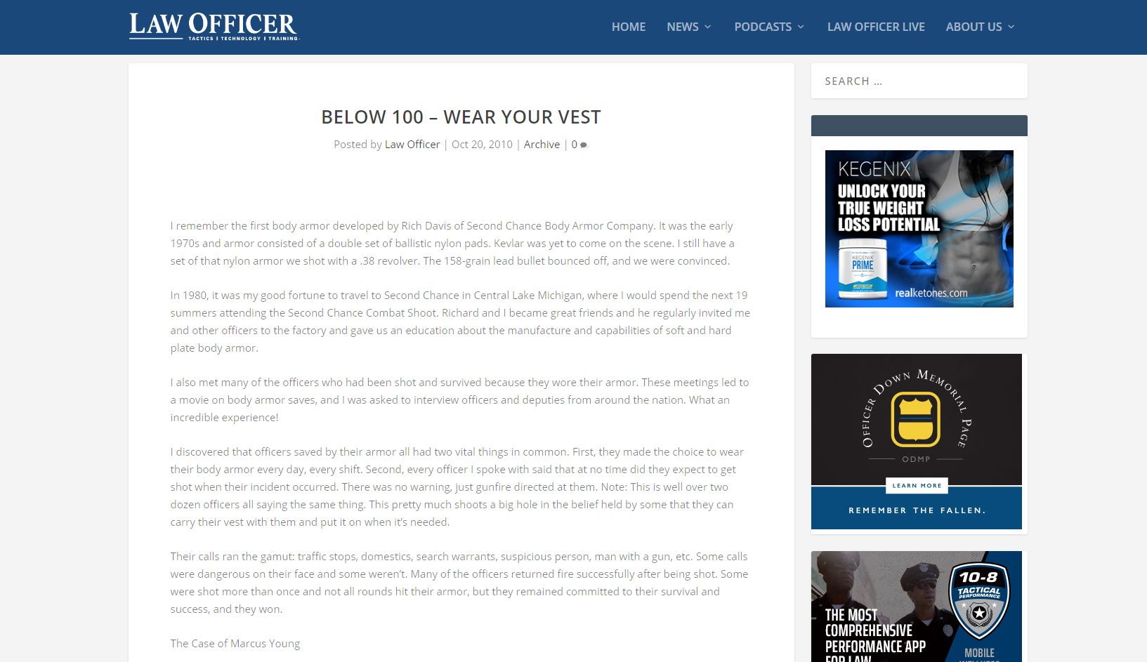 Article on website about wearing your body armor
