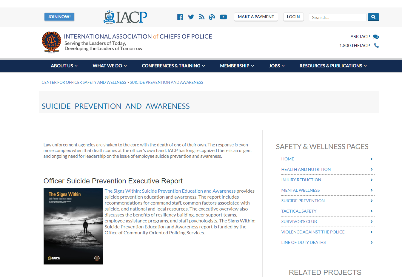 IACP website including printable documents on page